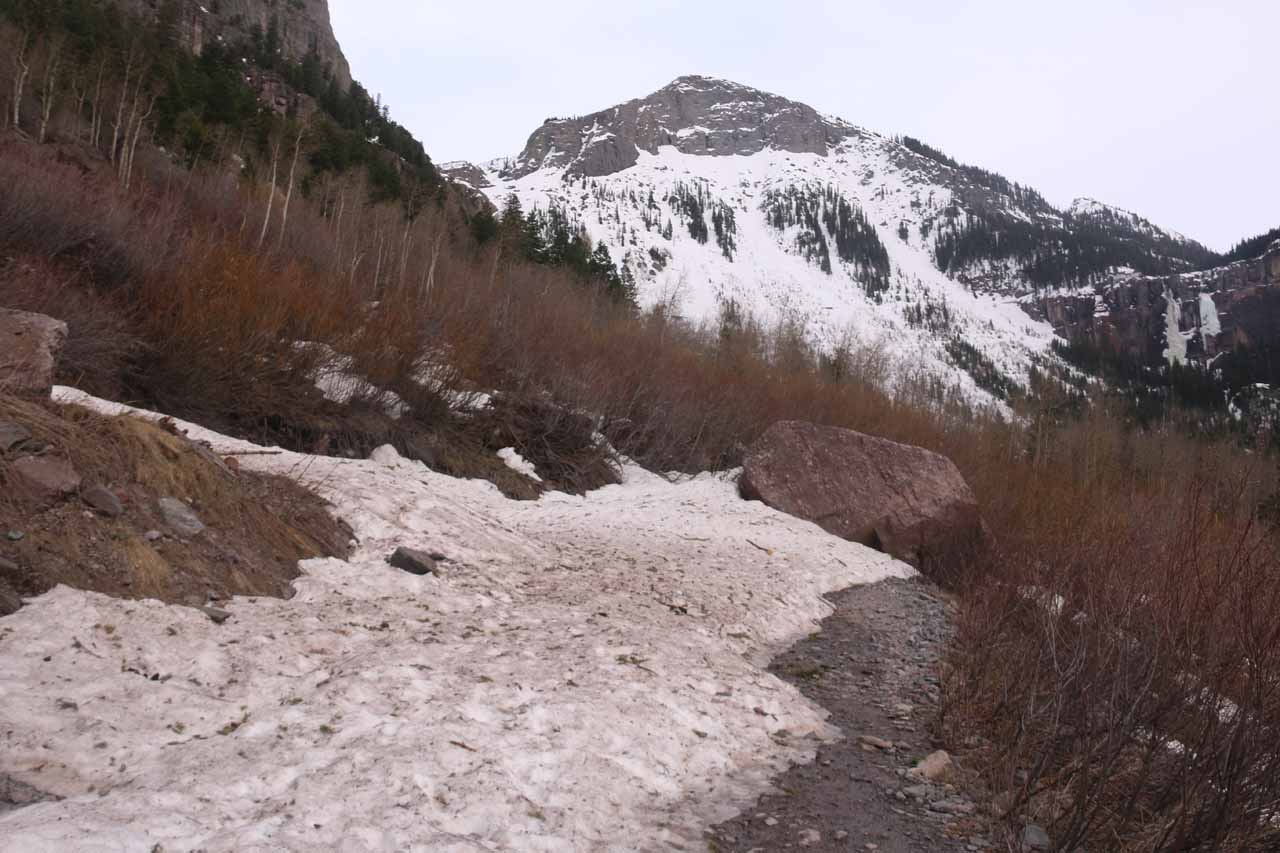 This was the snow covering up the next switchback