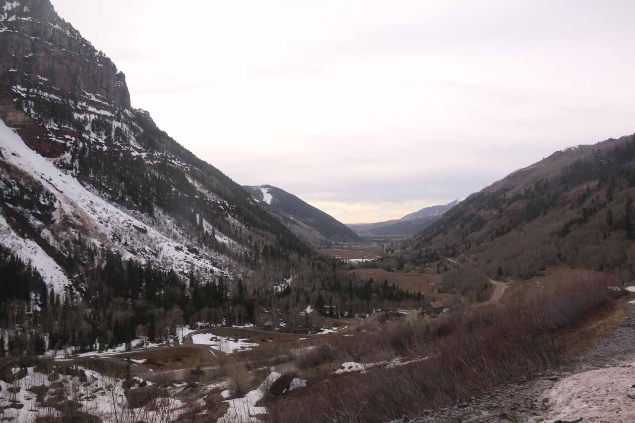 Looking back towards the Telluride Valley from the snow on the 4wd road up to Bridal Veil Falls