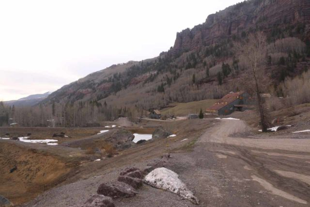 Bridal_Veil_Falls_CO_043_04162017 - Looking back at the road leading to the parking space of the so-called Valley View Area just past the Pandora Mill