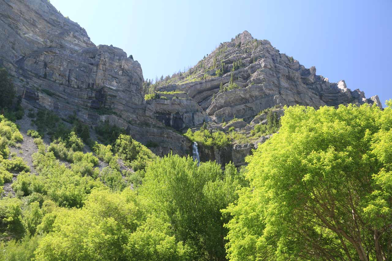 Partial view at the upper drops of Bridal Veil Falls from the parking area