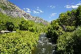 Bridal_Veil_Falls_Provo_003_08102020 - Looking upstream along the Provo River from the footbridge spanning it as seen during our mid-August 2020 visit to Bridal Veil Falls