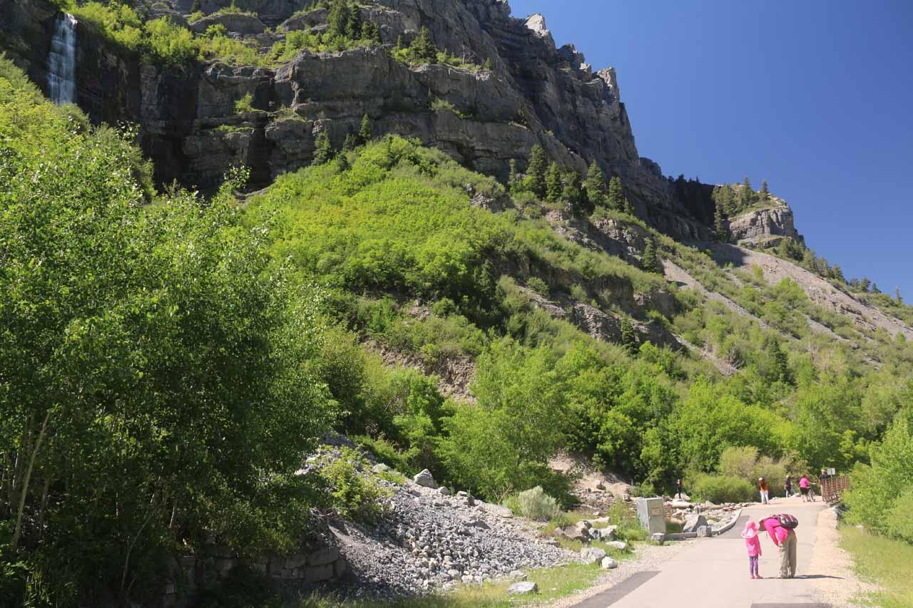 Context of Julie and Tahia on paved path at the base of Bridal Veil Falls