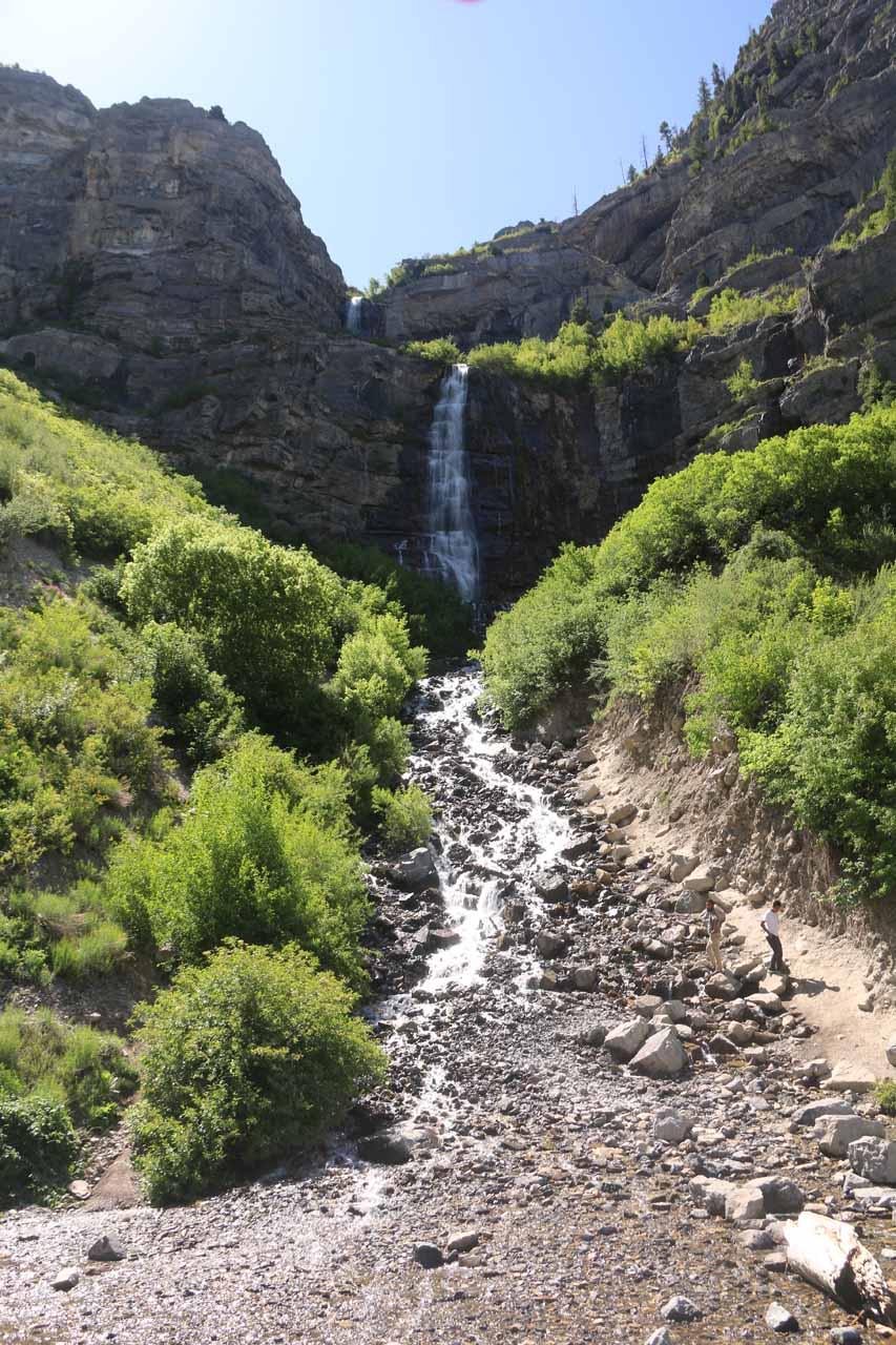 Looking up towards Bridal Veil Falls from its base