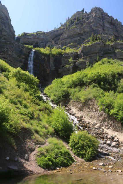 Bridal_Veil_Falls_Provo_022_05282017 - Looking up at the Bridal Veil Falls from across the fish pond at its base