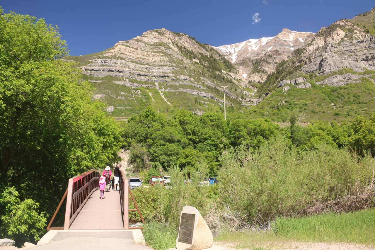 Looking back at the parking area and footbridge near the base of Bridal Veil Falls