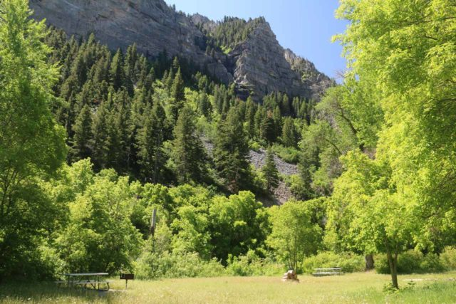 Bridal_Veil_Falls_Provo_033_05282017 - Context of the picnic area for the Upper Falls where you really have to look hard to find that waterfall among the cliffs