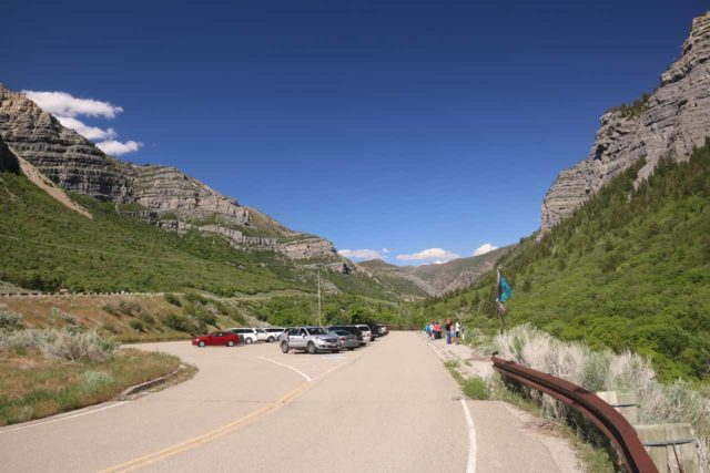 Bridal_Veil_Falls_Provo_068_05282017 - The parking area for the scenic lookout of Bridal Veil Falls off the Hwy 189 exit for 'Scenic Area'