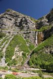 Bridal_Veil_Falls_Provo_069_05282017 - Context of Bridal Veil Falls with some machinery and lots of people at its base when we came back in the afternoon of our late May 2017 visit