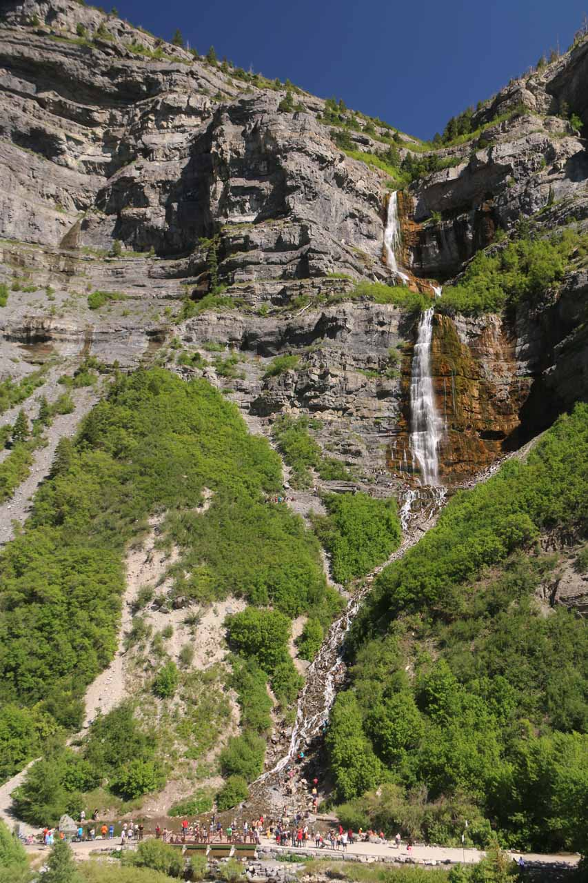 Angled look towards the Bridal Veil Falls in pleasant afternoon light