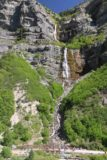 Bridal_Veil_Falls_Provo_077_05282017 - Direct look at Bridal Veil Falls in Provo Canyon in late afternoon with lots of people enjoying both the great weather and the waterfall itself