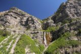 Bridal_Veil_Falls_Provo_080_05282017 - Broad look at the upper two tiers of Bridal Veil Falls to show the surrounding cliffs of Cascade Mountain as seen in late May 2017