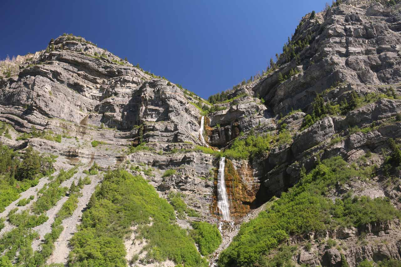 Broad look at the upper two tiers of Bridal Veil Falls to show the surrounding cliffs of Cascade Mountain