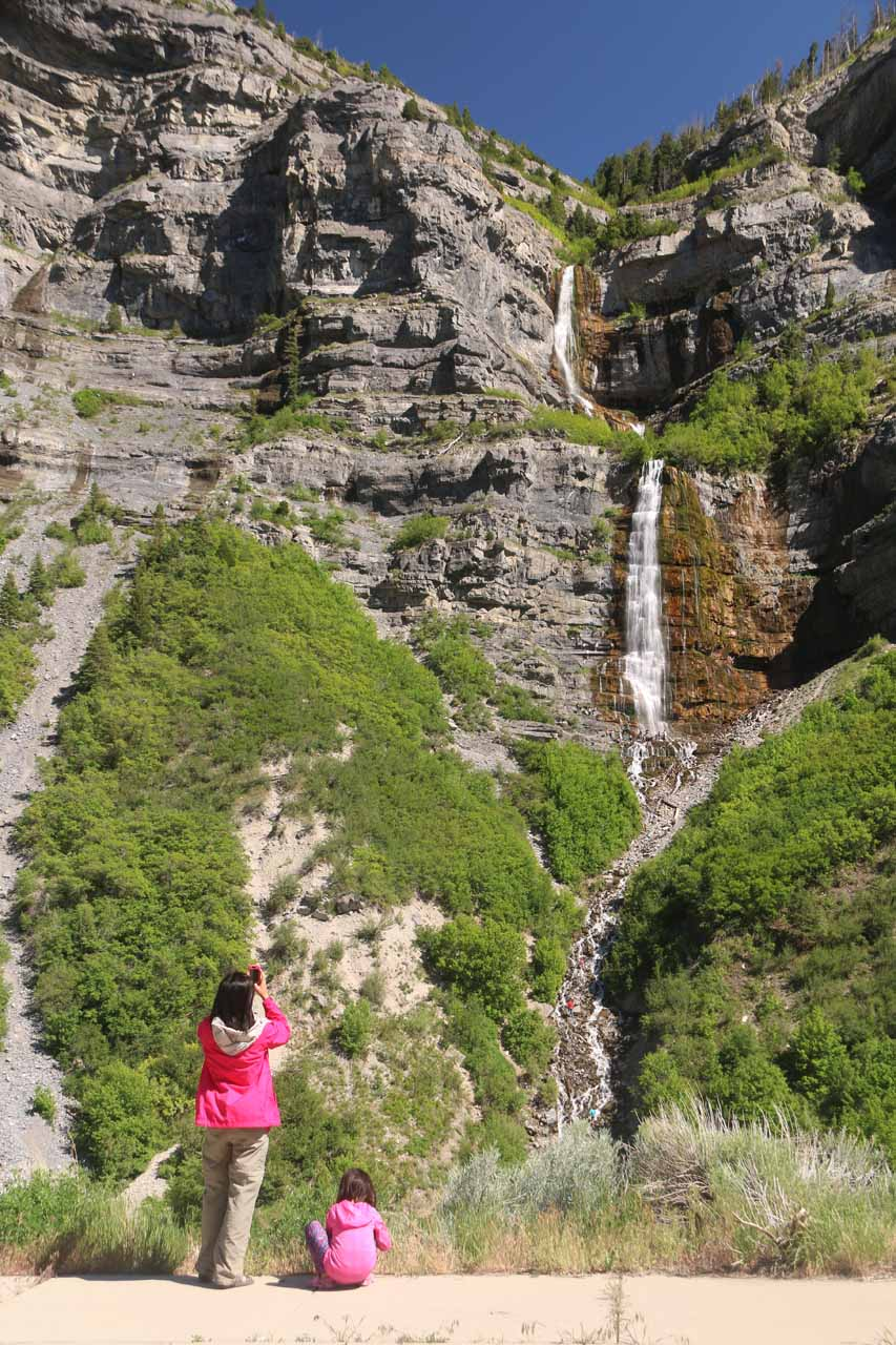 Julie and Tahia enjoying a nice view of Bridal Veil Falls from the scenic lookout