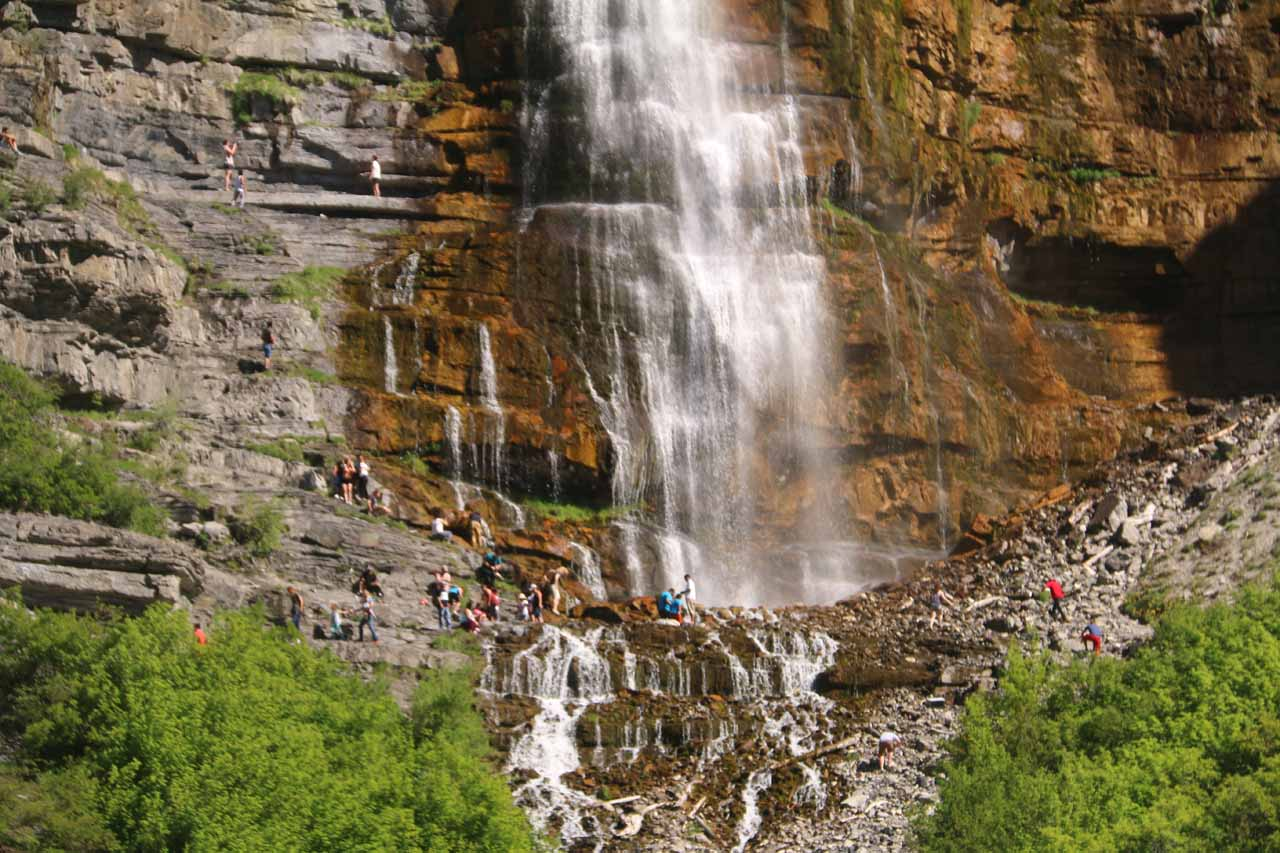 Closer look at the dozens of people who made it up to the base of the lower vertical drop of Bridal Veil Falls