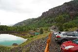 Bridal_Veil_Falls_Telluride_010_07222020 - Context of the Idarado Mining Company settling ponds and the trailhead parking for the Bridal Veil Falls accesses