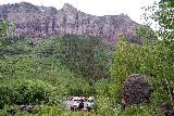 Bridal_Veil_Falls_Telluride_027_07222020 - Looking back at the trailhead parking area for the Bridal Veil Creek Trail