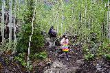 Bridal_Veil_Falls_Telluride_056_07222020 - Julie and Tahia continuing their ascent up the somewhat rugged Bridal Veil Creek Trail