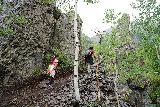Bridal_Veil_Falls_Telluride_075_07222020 - Julie and Tahia continuing to climb the Bridal Veil Creek Trail on the way up to the base of Bridal Veil Falls