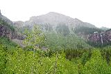 Bridal_Veil_Falls_Telluride_078_07222020 - Looking up towards the head of valley with Ingram Falls on the left and Bridal Veil Falls on the right just as it appeared to be raining up there