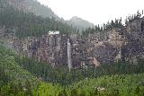 Bridal_Veil_Falls_Telluride_080_07222020 - Focused look at Bridal Veil Falls and its power station as seen from further along the Bridal Veil Creek Trail