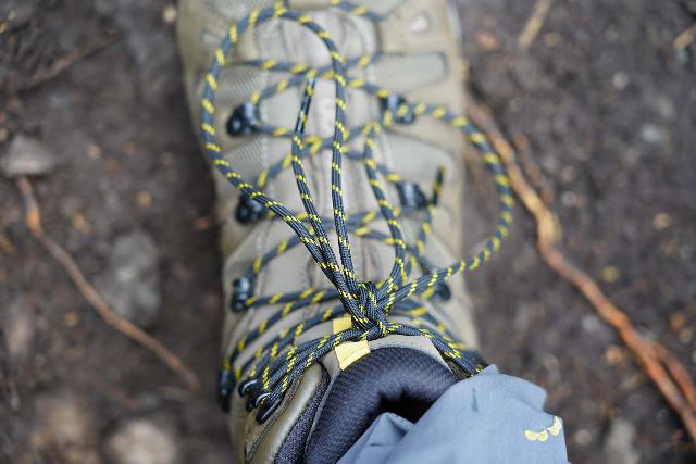 Closeup look at the double-knot (on the Salomon Quest 4D 3 GTX) that I typically employ when lacing up hiking boots