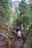 Bridal_Veil_Falls_Telluride_182_07222020 - Julie and Tahia still continuing up the Bridal Veil Creek Trail. Tahia's body language suggested that she was getting very winded at this point