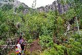 Bridal_Veil_Falls_Telluride_193_07222020 - Julie and Tahia approaching the second cascade on Bridal Veil Creek