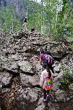 Bridal_Veil_Falls_Telluride_226_07222020 - Julie and Tahia scaling this rock outcrop where this other family was chilling out along the Bridal Veil Creek Trail