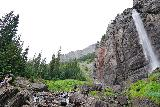 Bridal_Veil_Falls_Telluride_255_07222020 - Context of someone scrambling around Bridal Veil Creek around the base of Bridal Veil Falls