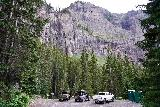 Bridal_Veil_Falls_Telluride_286_07222020 - Looking back at the context of the pullout parking area and port-a-potties by the base of Bridal Veil Falls