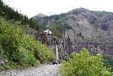 Bridal_Veil_Falls_Telluride_387_07222020 - Looking back at some 4wd vehicles driving before the Bridal Veil Falls from somewhere beyond its base