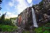 Bridal_Veil_Falls_Telluride_511_07222020 - Looking up at Bridal Veil Falls from its base backed by some blue skies as the thunderstorm was breaking up as the afternoon wore on