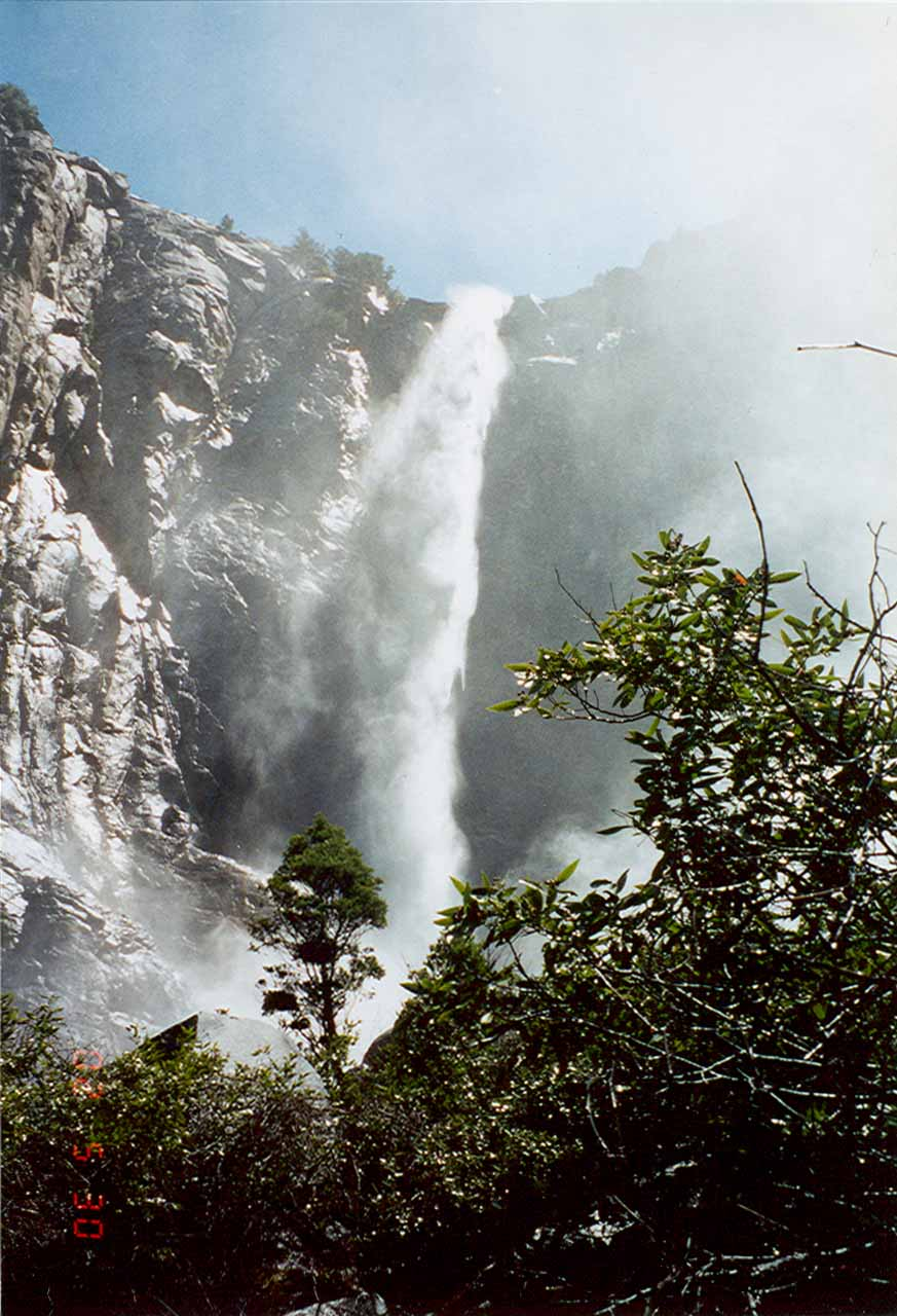 Old photograph of Bridalveil Fall from near its base in June 2002