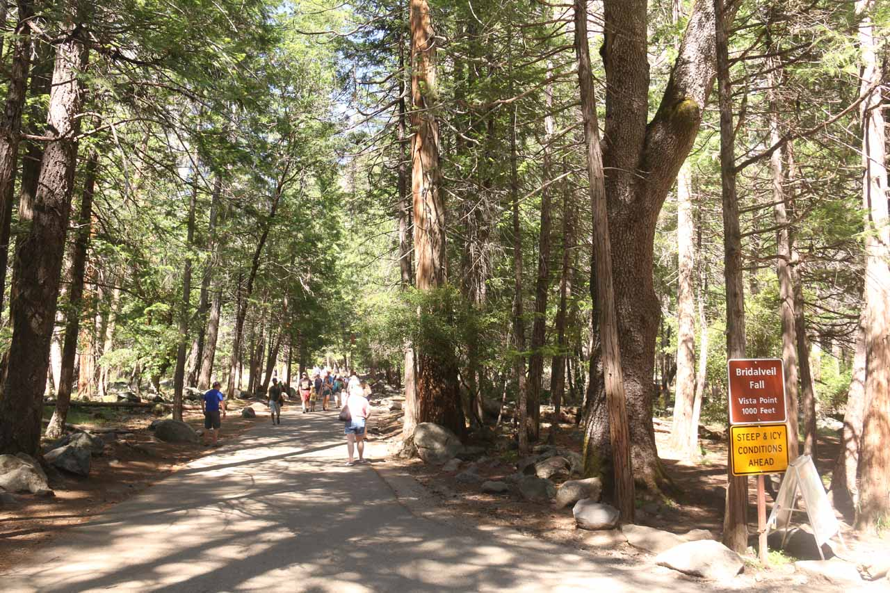 The start of the short quarter-mile walk leading to the base of Bridalveil Fall