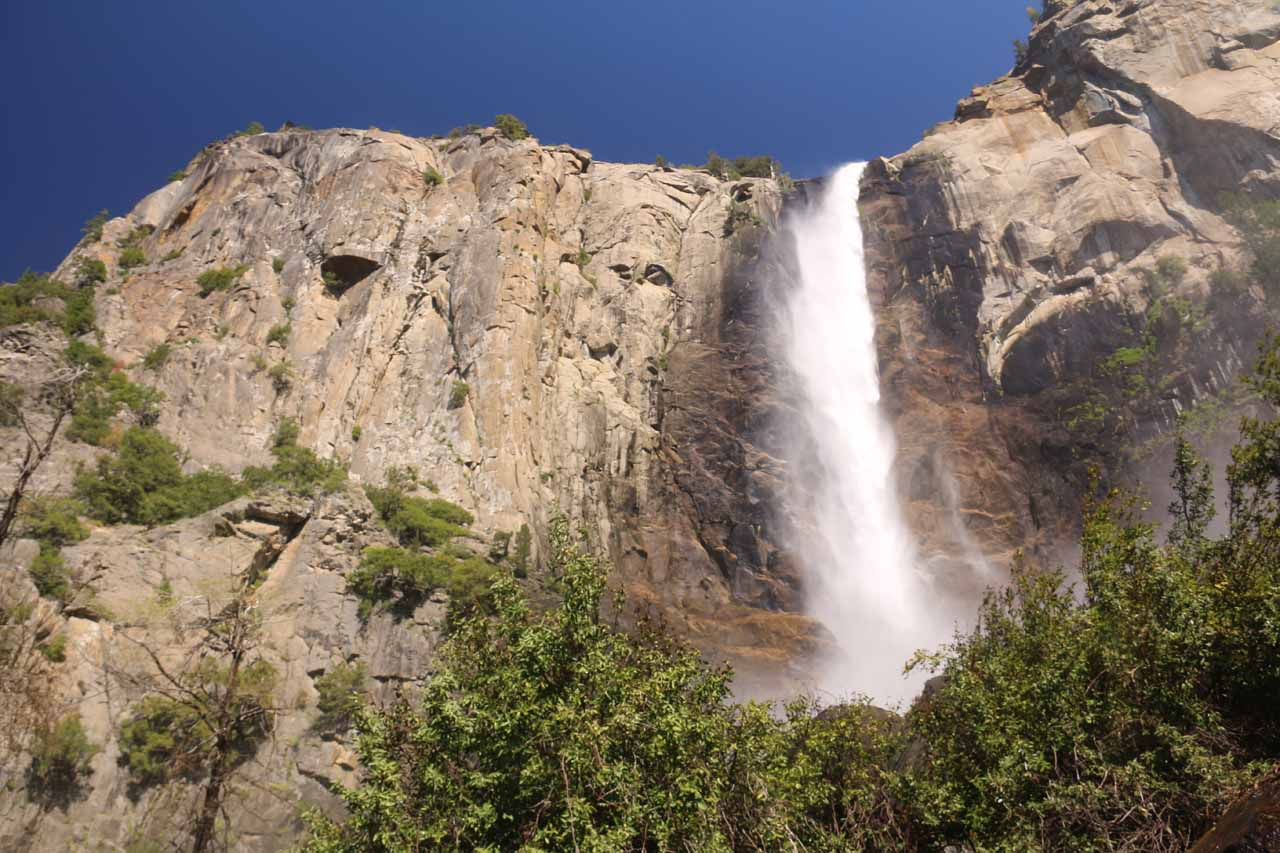 Looking up at Bridalveil Fall just before I was about to enter the brunt of the spray zone at its base