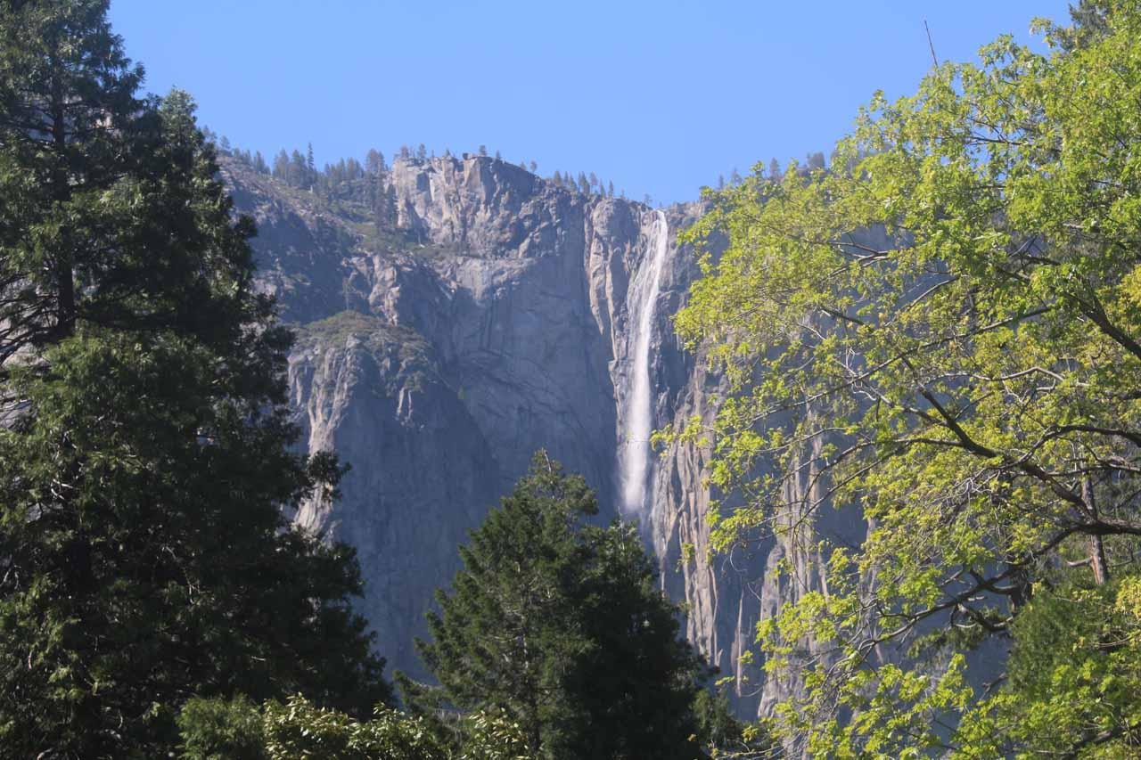 Looking across Yosemite Valley from the base of Bridalveil Fall towards Ribbon Falls