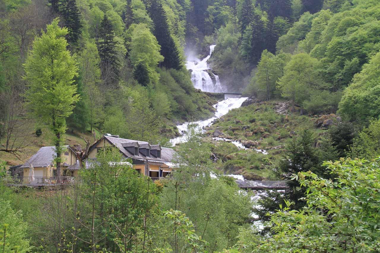 Cascade du Lutour and restaurant