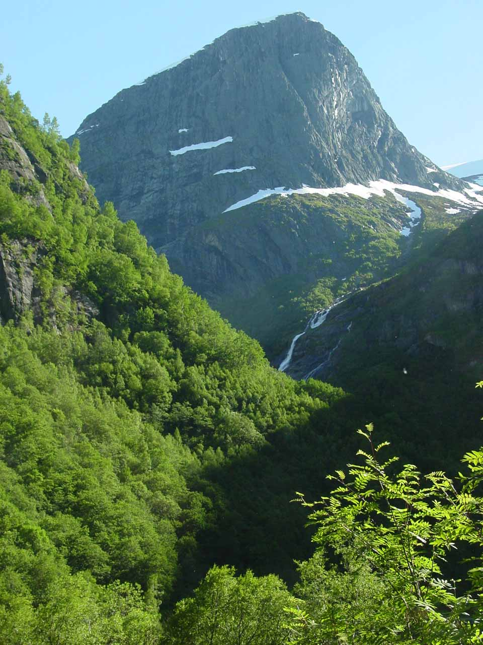 During the start of the hike up to Briksdalsbreen, we noticed this partial view of another waterfall in the next drainage to the south of the one for Volefossen