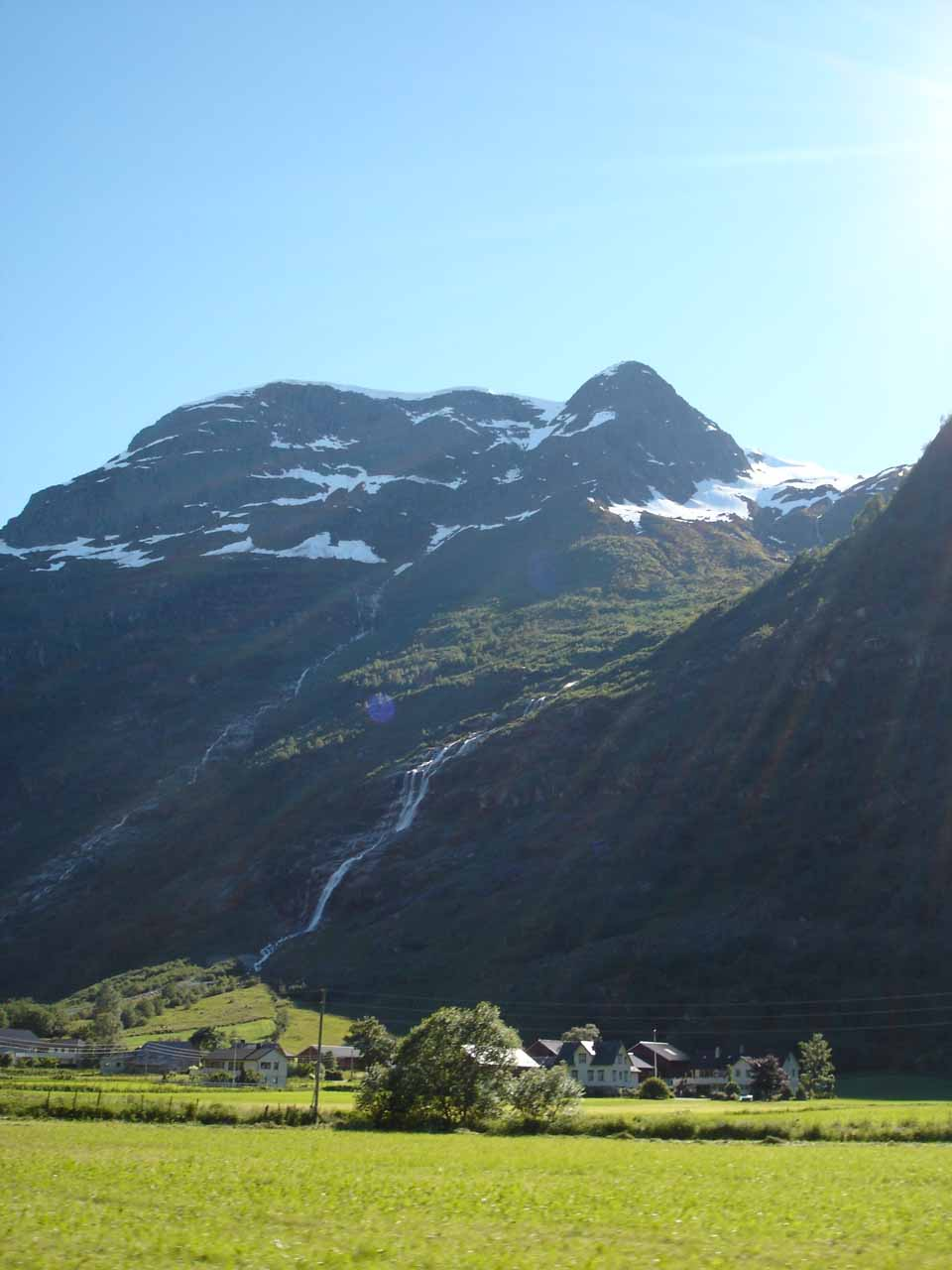 Side view against the late afternoon sun at what I believe to be Melkevollfossen