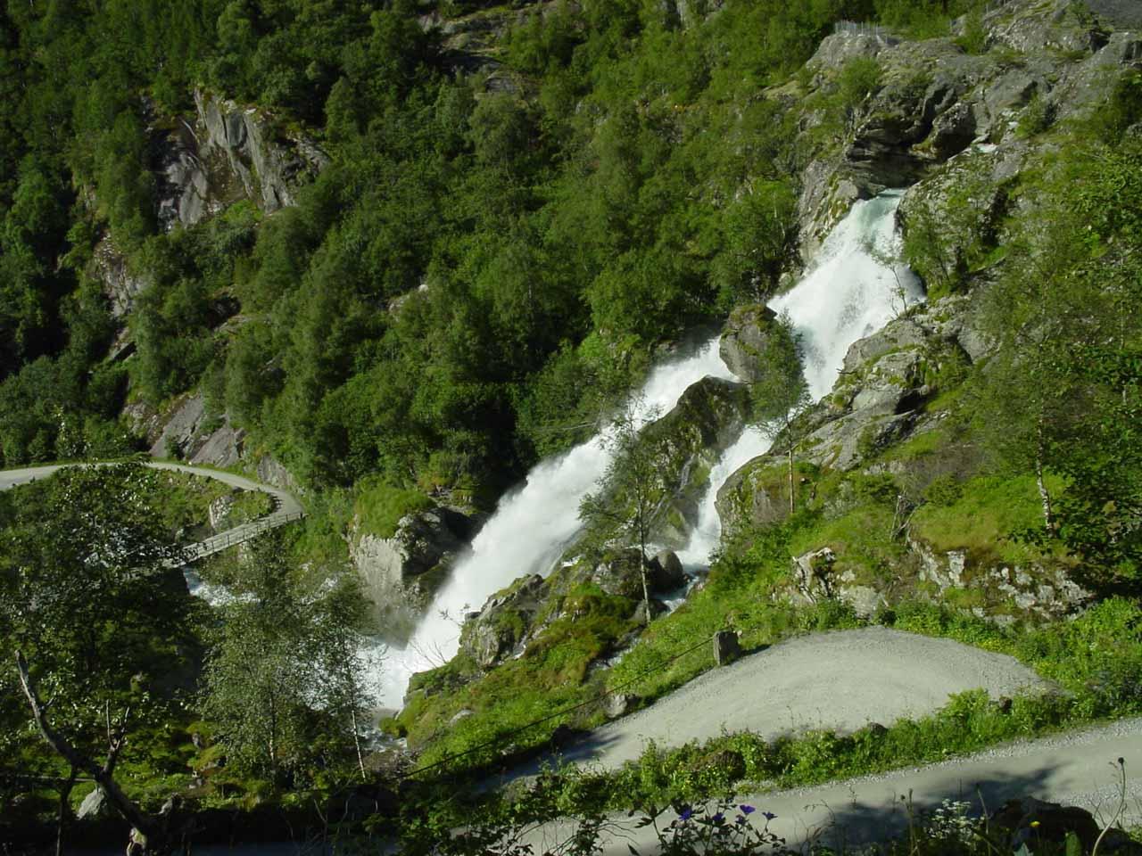 Kleivafossen seen from the Briksdalsbreen Trail