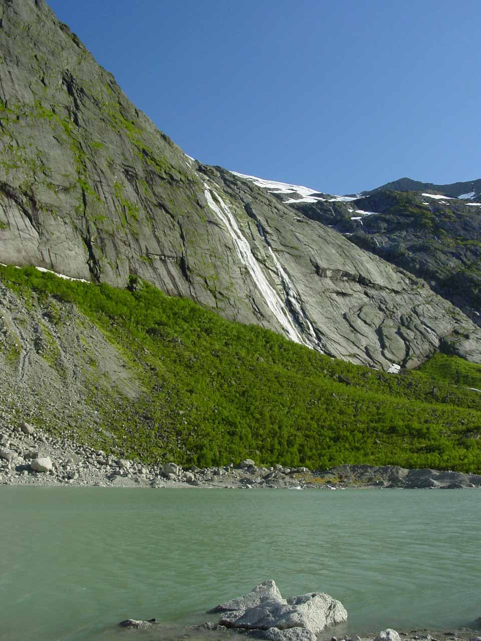 Looking across the Briksdal Valley towards some other waterfall