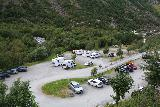 Briksdalsbreen_111_07192019 - Looking down at the car park at the head of Oldedalen and the foot of Briksdalen