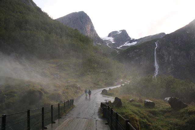 Briksdalsbreen_180_07192019 - Looking back at the mist from Kleivafossen blasting the Trollbil road and trail leading up to Briksdalsbreen. It seemed like the falls had pumped more spray in 2019 than on our first visit in 2005