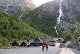 Briksdalsbreen_462_07192019 - Returning to the Briksdal Fjellstove with both Volefossen and some neighboring waterfall (possibly from the Melkevoll Glacier) in the background