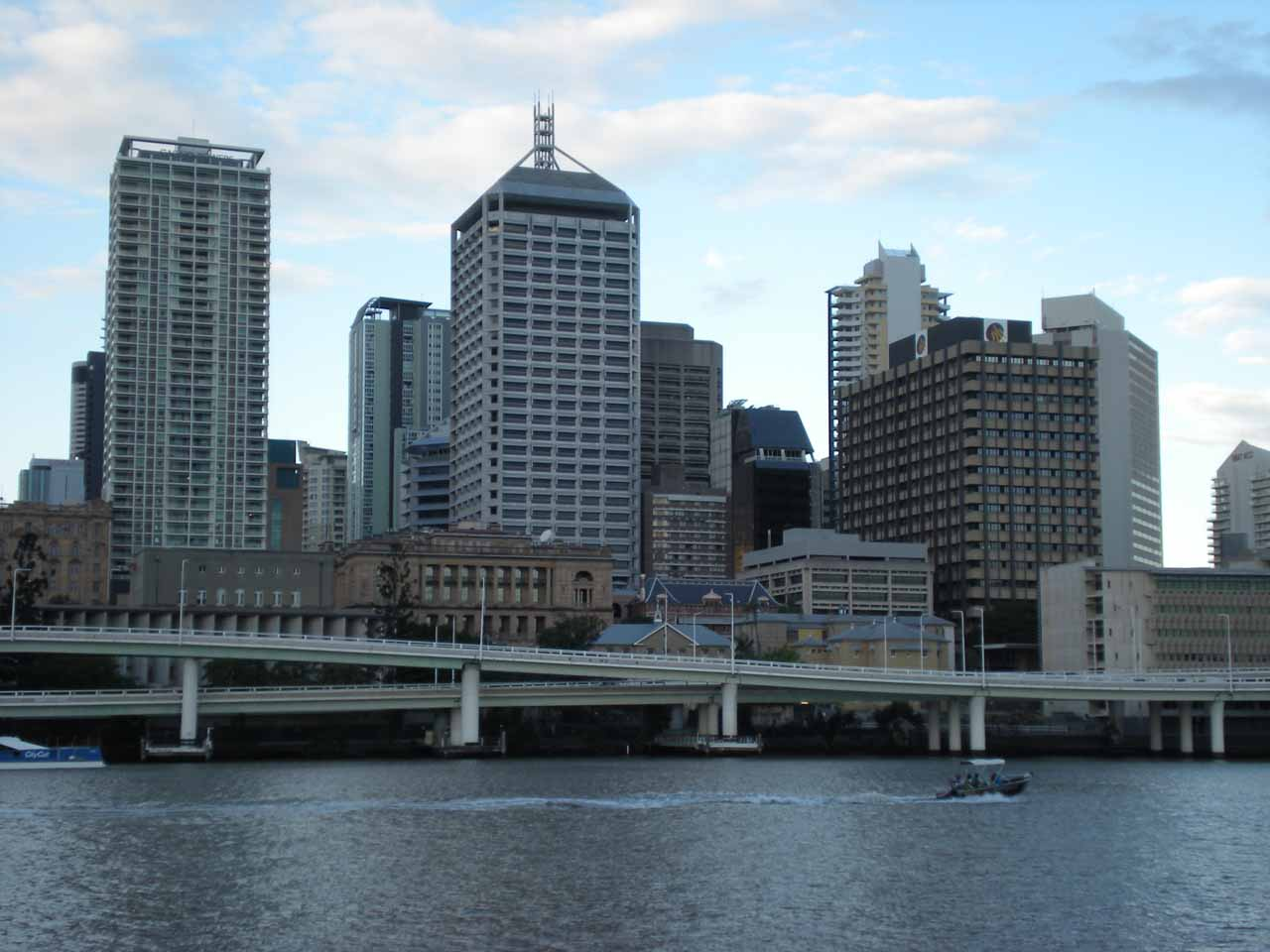 Looking across the Brisbane River at the high rises of the CBD