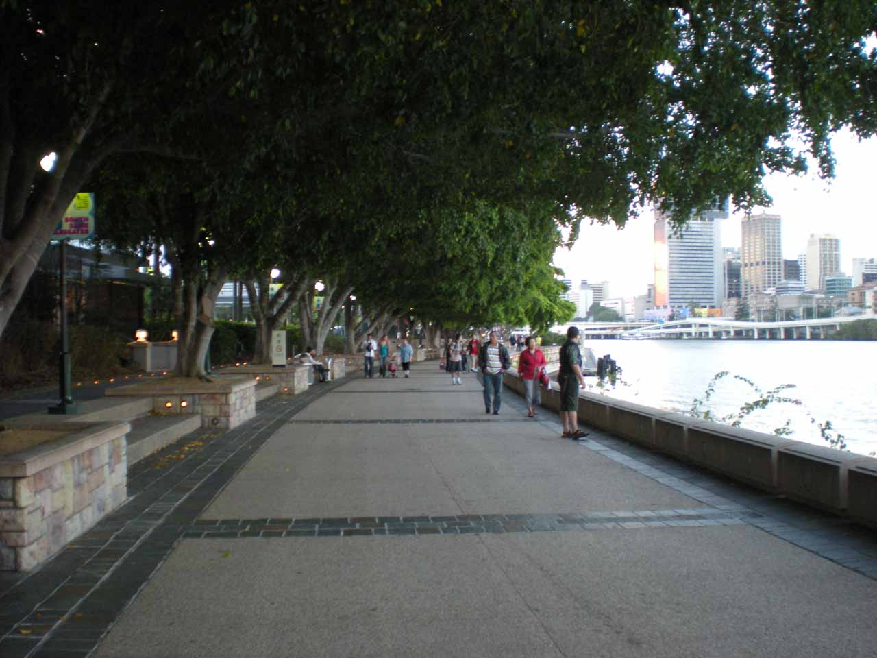 Walking on the promenade alongside the Brisbane River