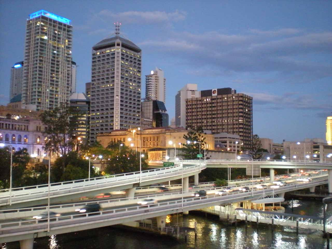 The Brisbane CBD in twilight