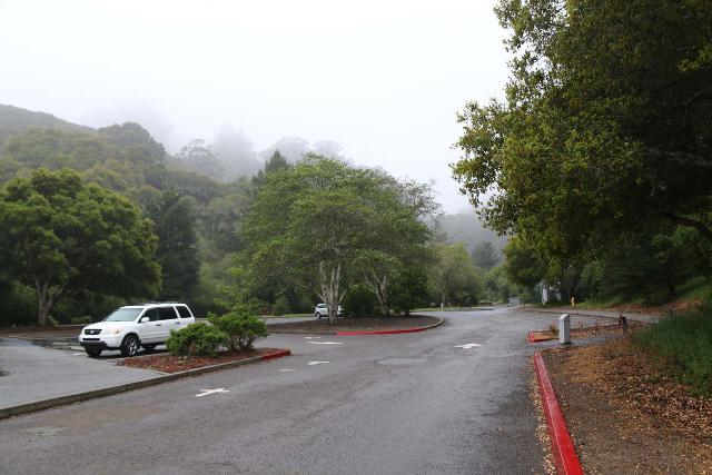 Brooks_Falls_003_04202019 - The San Pedro Valley County Park visitor center parking lot looking towards the side closest to the trailhead near the restrooms up ahead