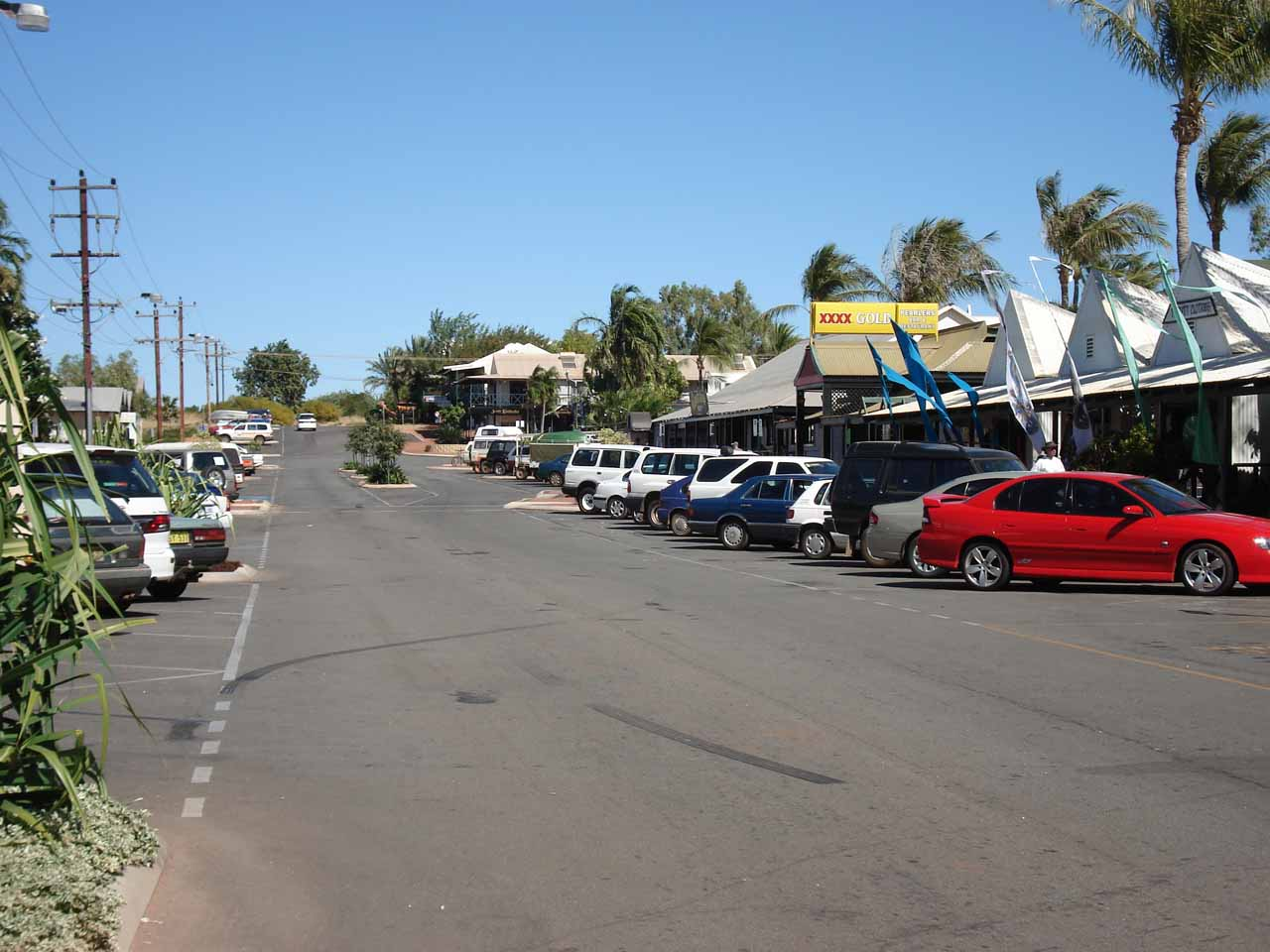 Looking along the streets of the Johnny Chi Lane in Broome
