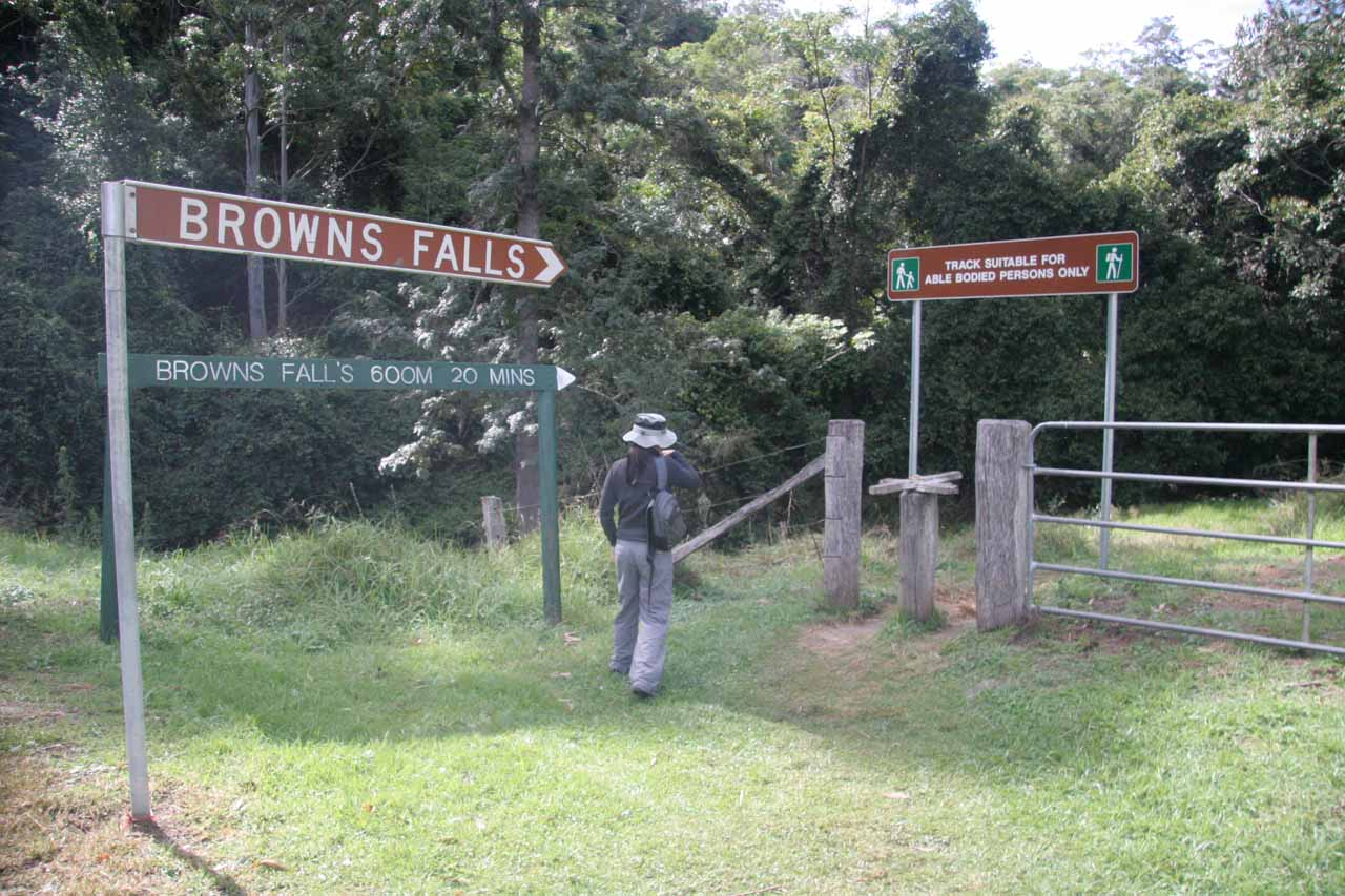 Julie following the signs for Browns Falls.  Notice how the sign indicated that it was merely a 20-minute walk over 600m.  We swear it was longer than that!